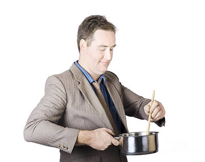 Businessman Preparing Food Poster