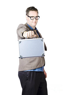 Businessman Showing His Briefcase Poster by Jorgo Photography - Wall Art Gallery