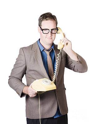 Businessman Talking On Retro Telephone Poster by Jorgo Photography - Wall Art Gallery