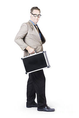 Businessman With Office Briefcase Poster by Jorgo Photography - Wall Art Gallery
