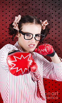 Businesswoman Boxing The Competition With Strategy Poster by Jorgo Photography - Wall Art Gallery