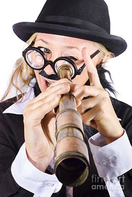 Businesswoman Looking Through Telescope Poster
