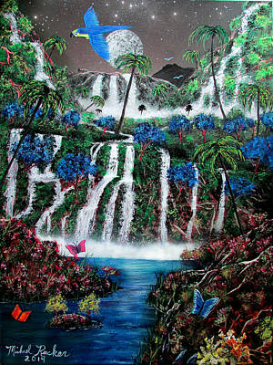 Tropical Waterfalls Poster
