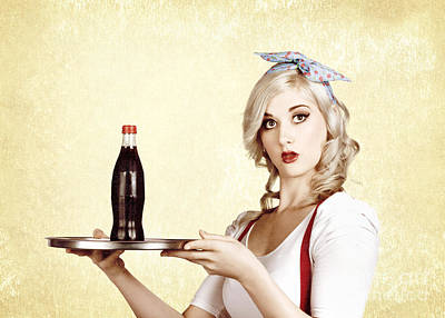 Cafe Bistro Bar Service. Woman With Drinks Tray Poster by Jorgo Photography - Wall Art Gallery