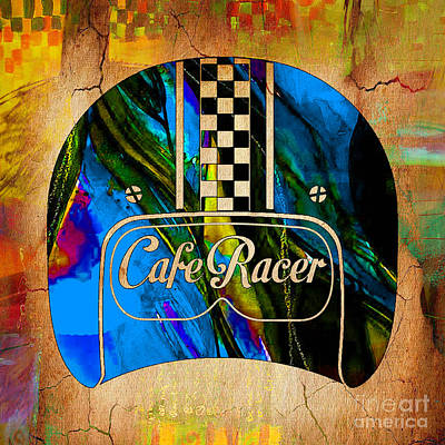 Cafe Racer Motorcycle Helmet Poster by Marvin Blaine