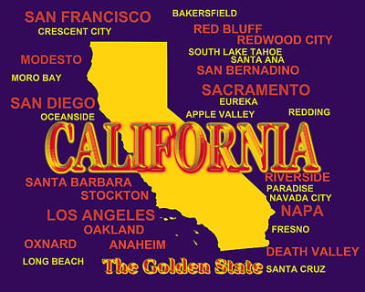 California State Pride Map Silhouette  Poster by Keith Webber Jr