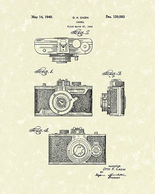 Poster featuring the drawing Camera 1940 Patent Art by Prior Art Design