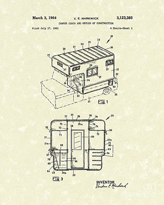 Camper Coach 1964 Patent Art Poster by Prior Art Design