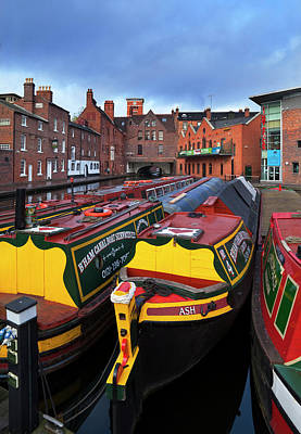 Canal Narrow Boats At The Gas Street Poster by Panoramic Images
