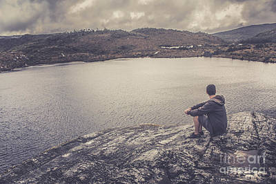 Candid Travel Man At Cradle Mountain Lookout Poster by Jorgo Photography - Wall Art Gallery