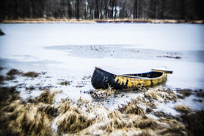 Canoe At The Frozen Lake Poster