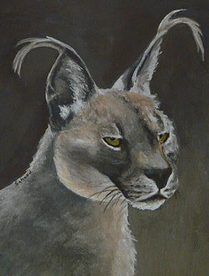 Poster featuring the painting Caracal Cat by Margaret Saheed