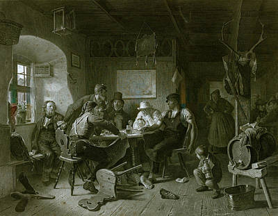 Card Game, Germany, Everyday Life, Interior, Figures, Men Poster