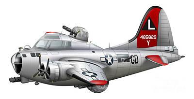 Cartoon Illustration Of A Boeing B-17 Poster
