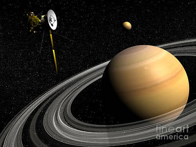 Cassini Spacecraft Orbiting Saturn Poster