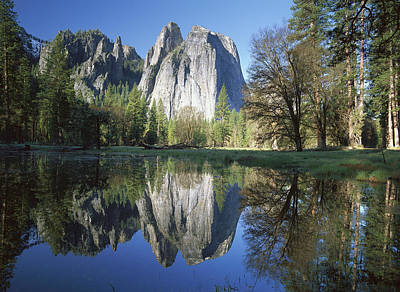 Cathedral Rock And The Merced River Poster