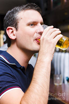 Caucasian Man Drinking Pint Of Beer Inside Pub Poster by Jorgo Photography - Wall Art Gallery