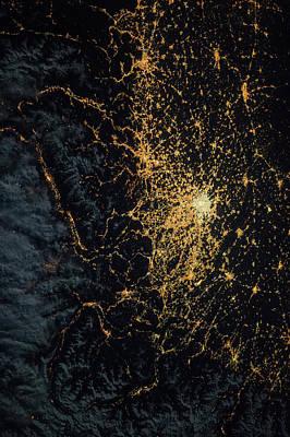Central Europe At Night Poster by Nasa