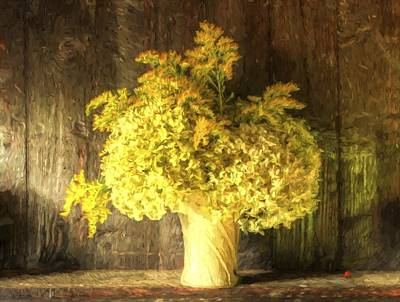 Cezanne Style Digital Painting Retro Style Still Life Of Dried Flowers In Vase Against Worn Woo Poster