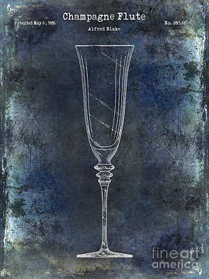 Champagne Flute Patent Drawing Blue 2 Poster