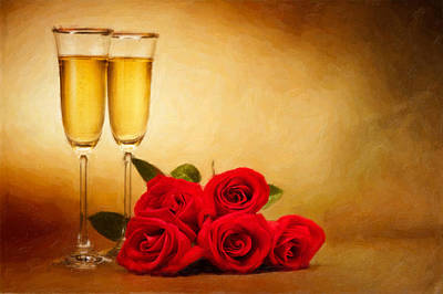 Champagne Glasses And Roses  Poster by Ulrich Schade