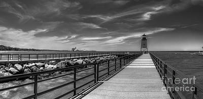 Charlevoix Lighthouse In Black And White Poster by Twenty Two North Photography