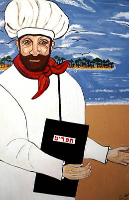 Poster featuring the painting Chef From Israel by Nora Shepley