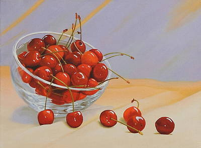 Cherries Bowl Poster by Lepercq Veronique