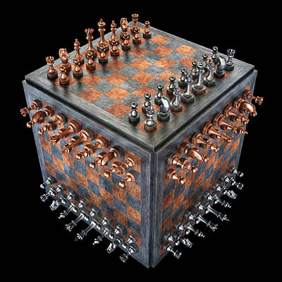 Chess Board In A Cube Shape Poster by Ktsdesign