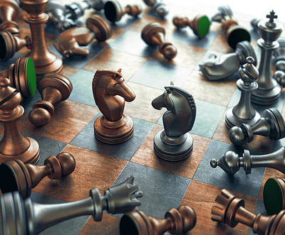 Chess Pieces On Chess Board Poster