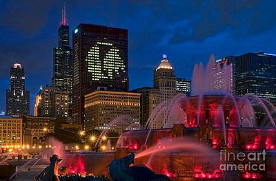 Chicago Blackhawks Skyline Poster by Jeff Lewis