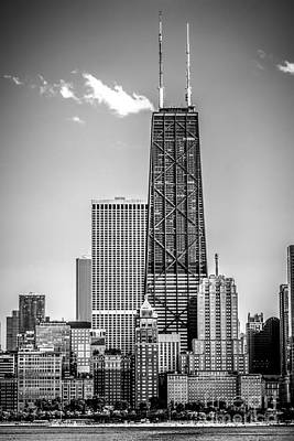 Chicago Hancock Building Black And White Picture Poster by Paul Velgos