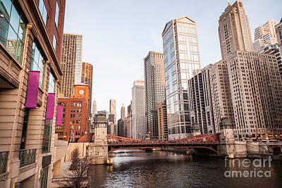 Chicago River Skyline At Lasalle Street Bridge Poster