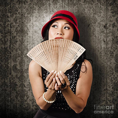 Chinese Girl Fanning Herself With Asian Hand Fan Poster