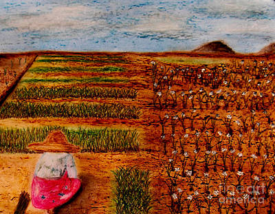Poster featuring the painting Chive Harvest by Ayasha Loya