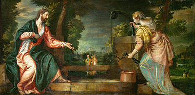 Christ And The Samaritan Woman At The Well Poster by Paolo Veronese
