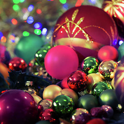 Christmas Baubles In A Pile Poster