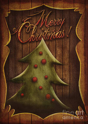 Christmas Card - Vintage Christmas Tree In Wooden Frame Poster