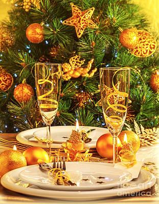 Christmas Dinner In Restaurant Poster by Anna Om