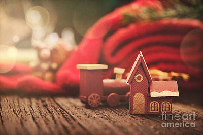 Christmas Rustic Decoration Poster by Mythja  Photography