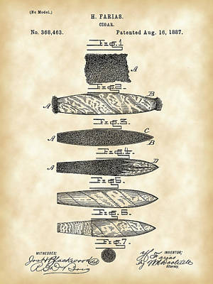Cigar Patent 1887 - Vintage Poster by Stephen Younts
