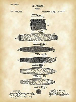 Cigar Patent 1887 - Vintage Poster