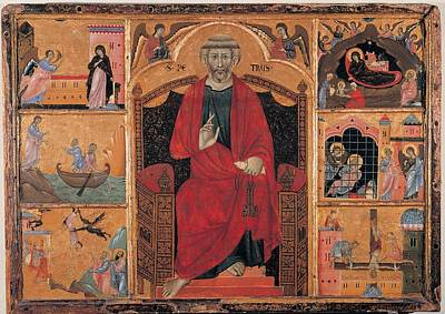 Circle Guido Da Siena, St Peter And Six Poster