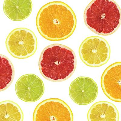 Citrus Fruit Slices Poster by Science Photo Library