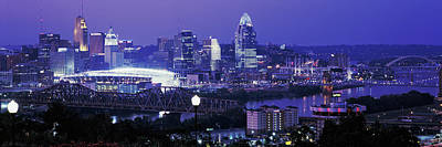 City Lit Up At Night, Cincinnati, Ohio Poster by Panoramic Images