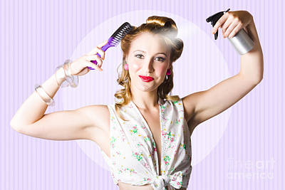 Classic 50s Pinup Girl Combing Hair Style Poster