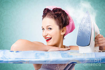 Cleaning Pin-up Housewife With Hot Clothing Iron  Poster