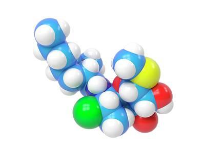 Clindamycin Antibiotic Molecule Poster