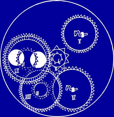 Clock Gears Blueprint Poster