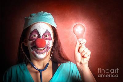 Clown Doctor Holding Red Emergency Lightbulb Poster